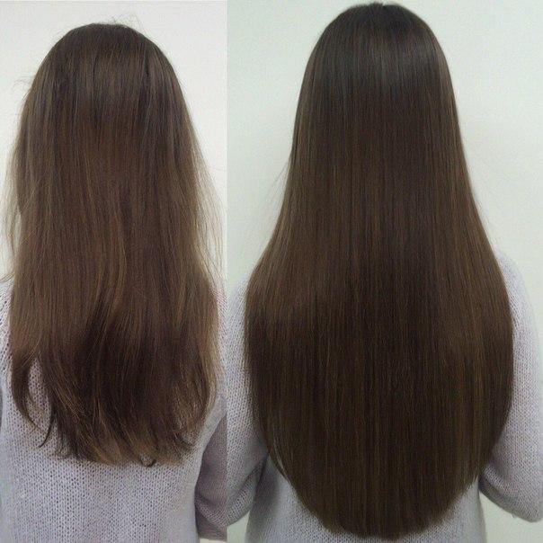 наращивание темных волос